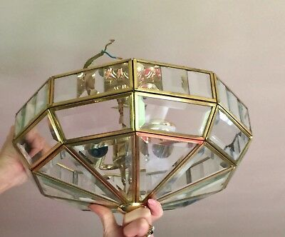 Art Deco Style  2 X Ceiling Lights Leaded Bevelled Glass Quality Lights Super !