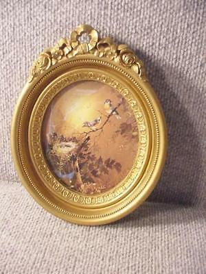 Homco 1982 Ornate Oval Picture Frame with Glass Roses Flowers Ribbons