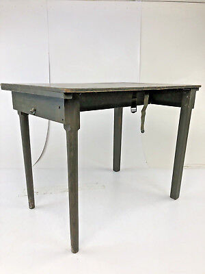 Vintage WOOD MILITARY FIELD DESK wooden folding green portable student US army