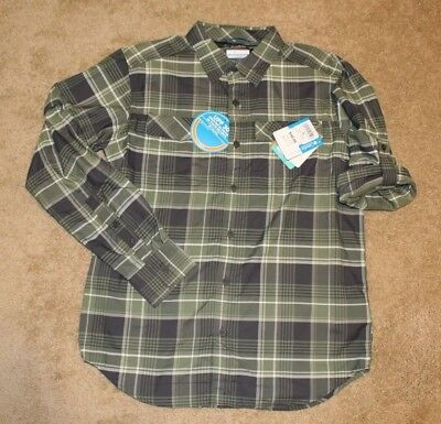 12d853f82fe Columbia Mens Kestrel Trail Plaid Grey/Green Long Sleeve Shirt Sz M Retail  $60
