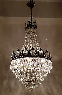 Antique Vintage French Basket Style Brass & Crystals LARGE Chandelier Lamp Light