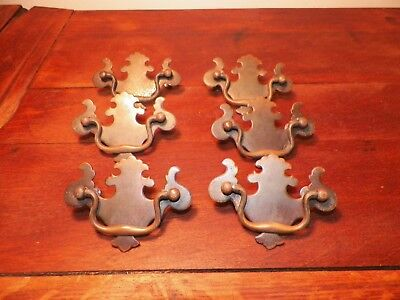 "6 Chippendale Victorian Drawer Pulls Solid Brass 2 1/2"" Center To Center"