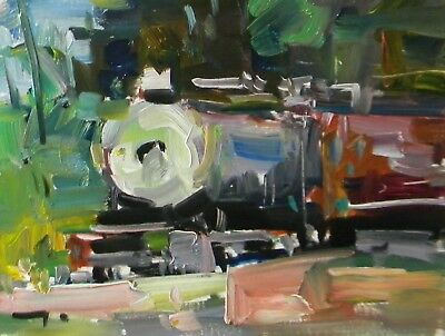 JOSE TRUJILLO Oil Painting EXPRESSIONISM TRAIN OLD LOCOMOTIVE LANDSCAPE SIGNED