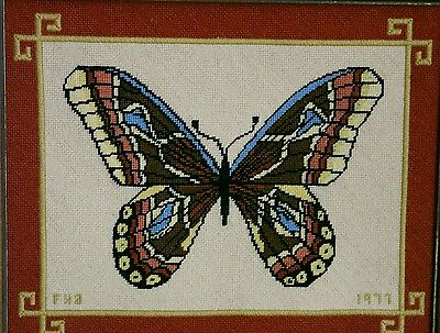 """Vintage 70s Completed Needlepoint Bordered Butterfly Wood Framed Decor 13⅝"""""""
