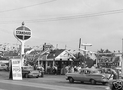 STANDARD OIL STATION pic 50's CHEV, FORD,PLYMOUTH PEPSI ADAMS MILK EAGLE STAMPS