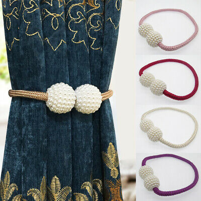 New Magnetic Curtain Strap Buckle Holder Pearl Beads Tiebacks Tie Backs Clips