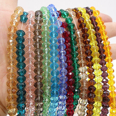 Wholesale Crystal Glass Rondelle Faceted Loose Spacer Beads 3mm4mm6mm8mm10mm