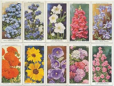 WILLS UK - 1939 : Garden Flowers By Sudell Complete Set (50) Cigarette Cards