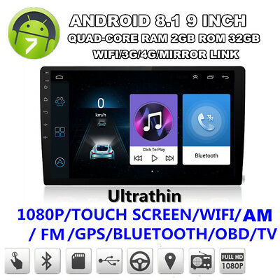 "Ultra-thin Android 8.1 9"" Quad-core Wifi 3G 4G Car Stereo Radio GPS Navigation"