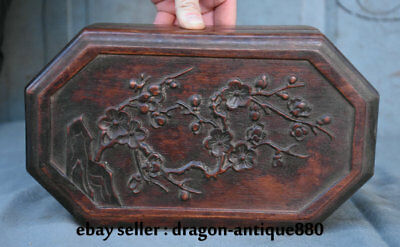 "10.4"" Old Chinese Redwood Carving Dynasty Palace Plum Blossom Jewelry Box"