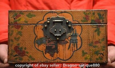 Qianlong Marked Chinese Lacquerware Dynasty Red-crowned Crane Storage Jewel Box