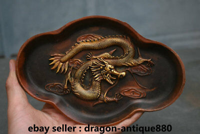 "7"" Marked Old Chinese Purple Bronze Dynasty Palace Dragon Loong Plate Dish Tray"
