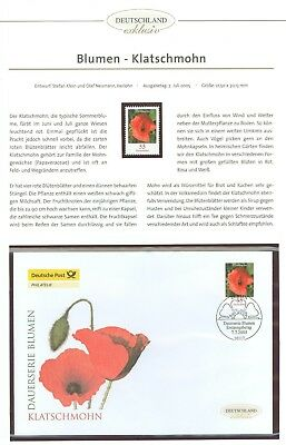 Germany K73 FDC +1v MNH 2005 Flowers Poppy Below face