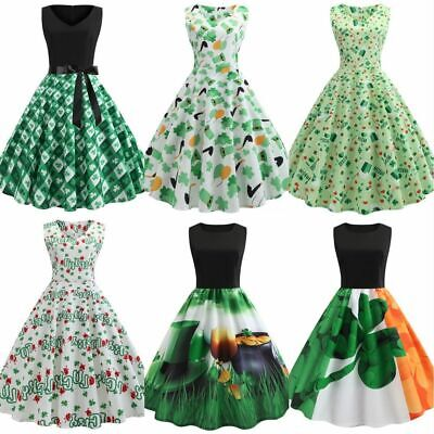 St  Patricks Day Women Print Crew Neck Green Sleeveless Slim Midi Swing Dress