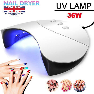 Professional 36W LED Nail Fast Dryer Cure Lamp For UV Gel Nail Polish Light UK