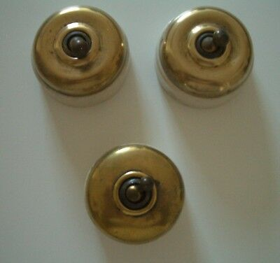 ANTIQUE BRASS Toggle Light Switches x 3 Ediswan - Excellent Condition