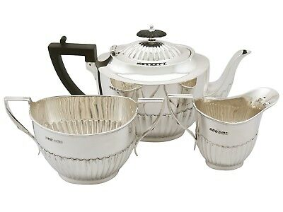 Antique Sterling Silver Three Piece Tea Service Sheffield 1919 989g