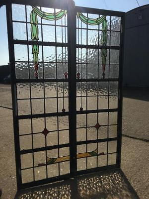 Pair of Art Deco Crittall Leaded Stained Glass Windows 1930s Industrial Vintage