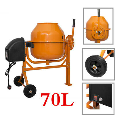 70L Electric Portable Cement Mixer 250W Concrete Mortar Mixing Machine 240V NEW