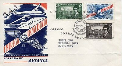 "Air mail cover ""BOGATA to CARTAGENA, express service."