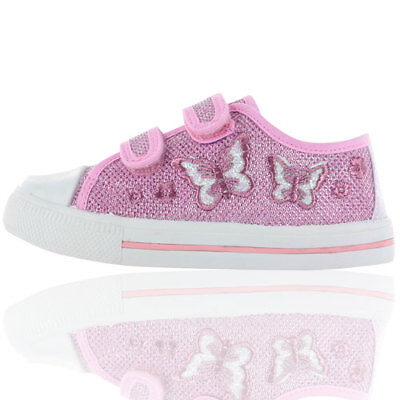 Buckle My Shoe Infant Girls Coral Pink Cupcake Touch Riptape Canvas New Shoes