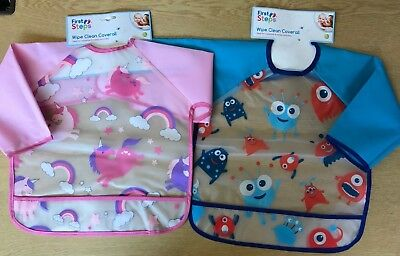 *NEW* Baby / Toddler Wipe Clean Coverall / Bib. Long Sleeves. Unicorn or Monster