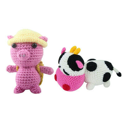 2 Sets Beginners Learn to Crochet Kit for Knitting Lovely 3D Pig Cow Toy