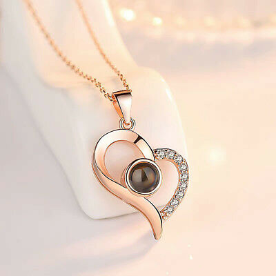 Silver Rose Gold 100 Languages Light I Love You Projection Pendant Necklace MK87