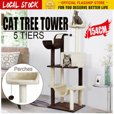 "60.5"" Cat Scratching Tree Scratcher Post Furniture House Toy Gym Tower Kitten AU"