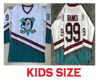 Youth Adam Banks #99 Mighty Ducks Kids Hockey Jersey Stitched White NEW