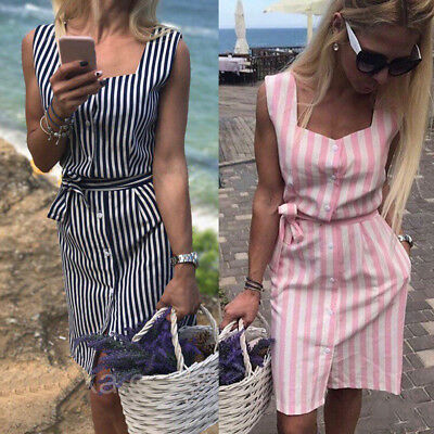 Fashion Women Sleeveless Striped Print Slim Pockets Casual With Buttons Dress
