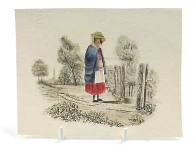 Antique 19th century English School watercolour portrait of a lady on pathway