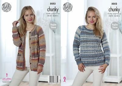 d19bd39a8c851b Ladies Cable Knit Jumper Cardigan Womens Chunky Knitting Pattern King Cole  5052