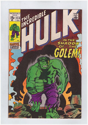Incredible Hulk # 134  In the Shadow of...the Golem !  grade 7.0 scarce book !