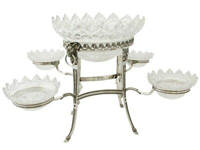 Antique George III Sterling Silver and Glass Centerpiece