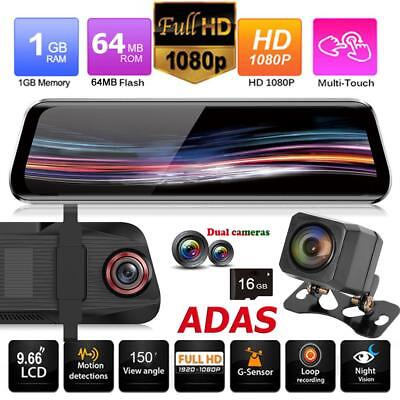 Anytek T11+ 1080P Car DVR Dual Lens Camera Rearview Mirror ADAS Dash Cam w/ 16GB