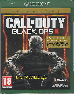Call of Duty Black Ops 3 III Gold Xbox One Zombie & Awakening DLC New Sealed COD
