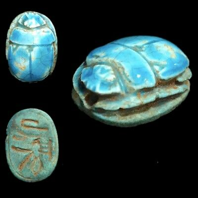Ancient Egyptian Glazed Scarab Bead Seal With Hieroglyphics 664 - 332 Bc (2)