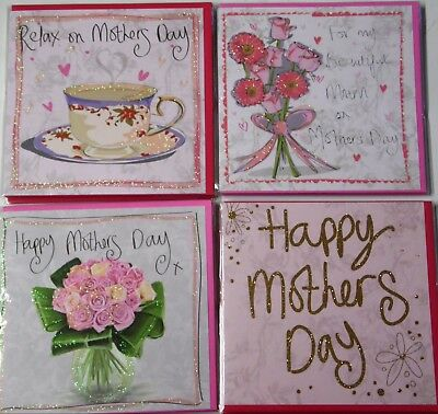 """MOTHER'S DAY CARDS x 24 JUST 25p, 4 X CLARE DAVIS DESIGNS, WRAPPED, 6"""" SQ"""