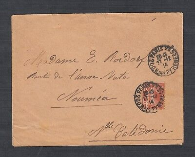 France 1914 Wwi Semi-Postal Sower Cover Paris To Noumea New Caledonia