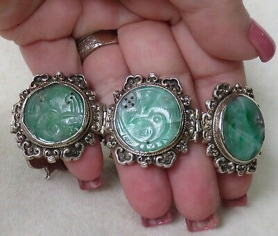 Antique Art Deco Chinese Carved Rich Green Fluorite & Ornate Silver Bracelet