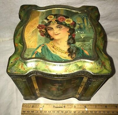 Antique Keens Mustard Spice Tin Litho Can Vintage Beautiful Women Victorian Lady