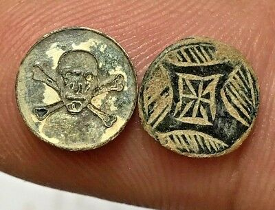 LOT OF 2 pcs MEDIEVAL BRONZE HEADS OF RINGS VERY INTERESTED
