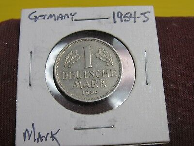 Germany 1954 J   1 Mark Higher Grade Collector Coin Bu  #gm8