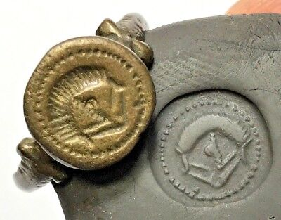 MUSEUM QUALITY ROMAN MILITARY BRONZE SEAL RING CIRCA 200 AD 6,4gr 20,1mm inner