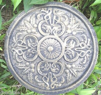 """Tuscan scroll plaque / stepping stone plastic mold 13.5"""" x 1"""""""