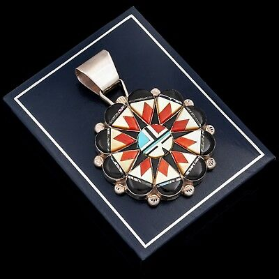 Vintage Sterling Silver Native Zuni Inlay RP EDAAKIE Sun Face Necklace Pendant