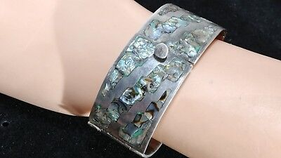 Vintage Taxco 925 Sterling Silver & Inlaid Abalone Bracelet