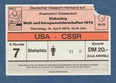TOP CSSR  ! Orig.Ticket  Eishockey WM Deutschland 1975  Finalrunde  USA