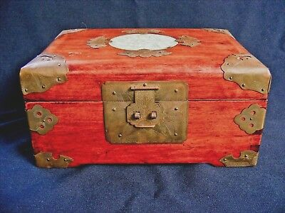 Vintage Chinese Rosewood Jewelry Chest Brass Hardware Carved Jade Medallion